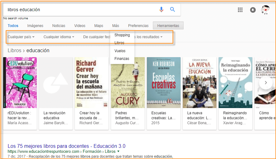 opciones herramientas de búsqueda