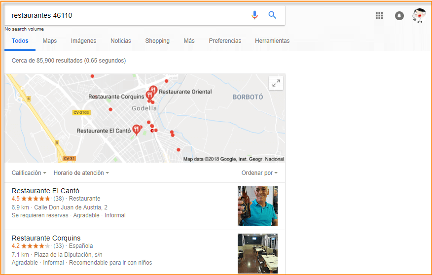google restaurantes