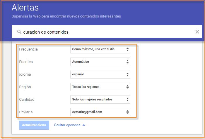 configurar alertas de google