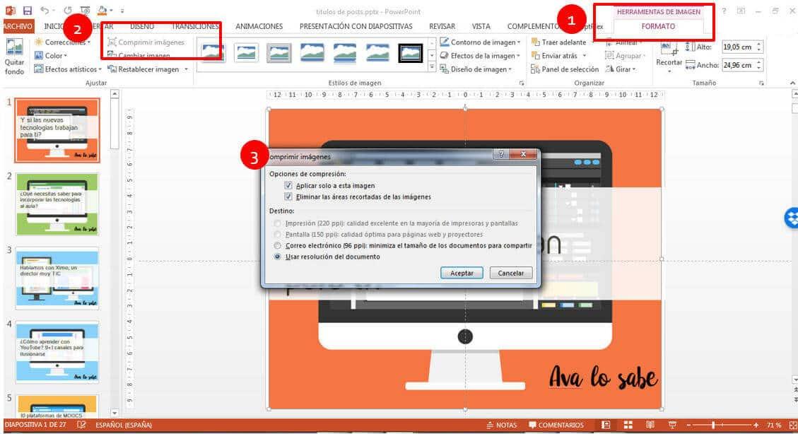 comprimir imagen en powerpoint