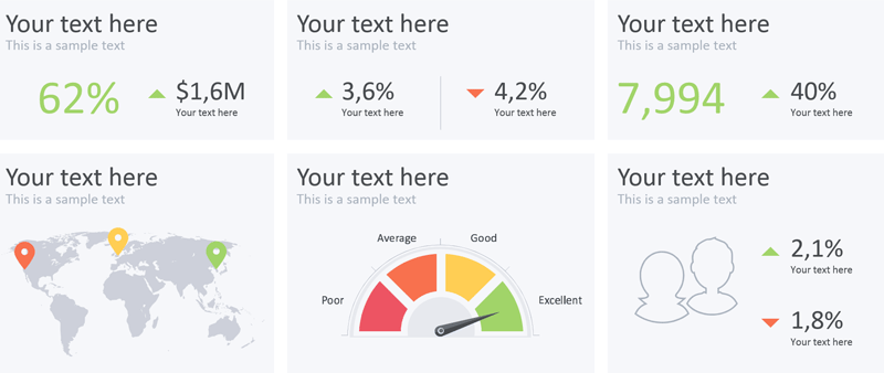 Plantilla gratuita de powerpoint para presentar Dashboards