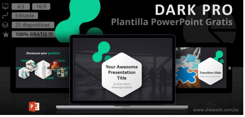 powerpoint plantilla profesional oscura