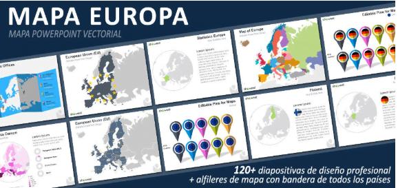 Plantillas de ppt con el mapa de Europa