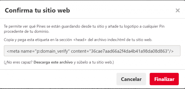 confirmar sitio web en pinterest