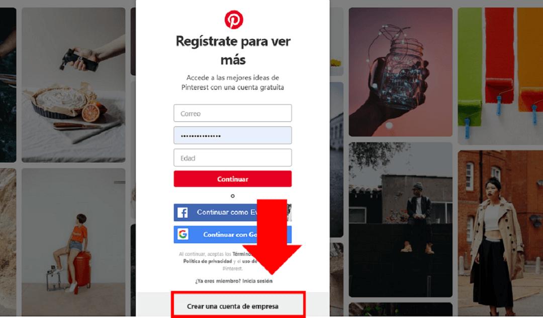crear cuenta de empresa en Pinterest